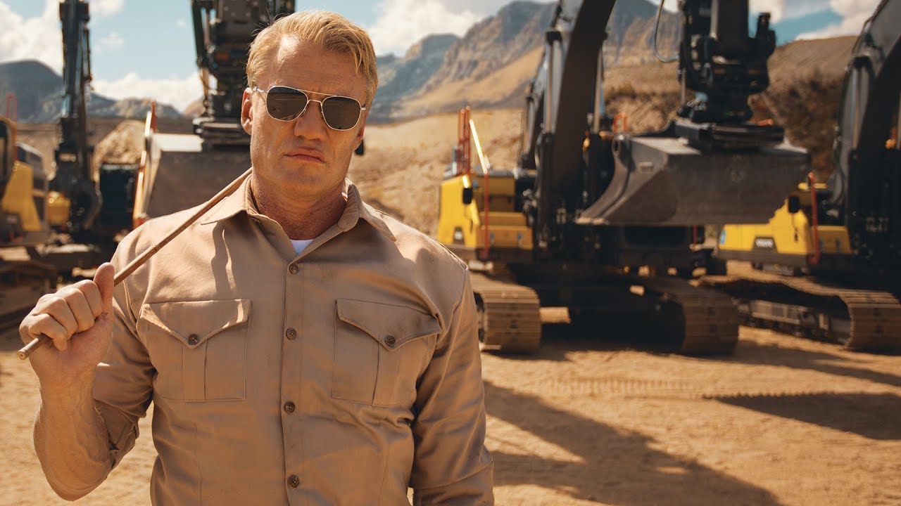 Dolph Lundgren pumps up some excavators for Volvo
