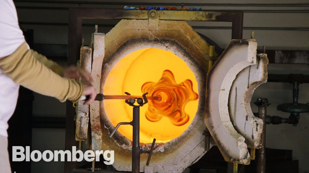 Learn how hand-blown molten glass is made with Bloomberg