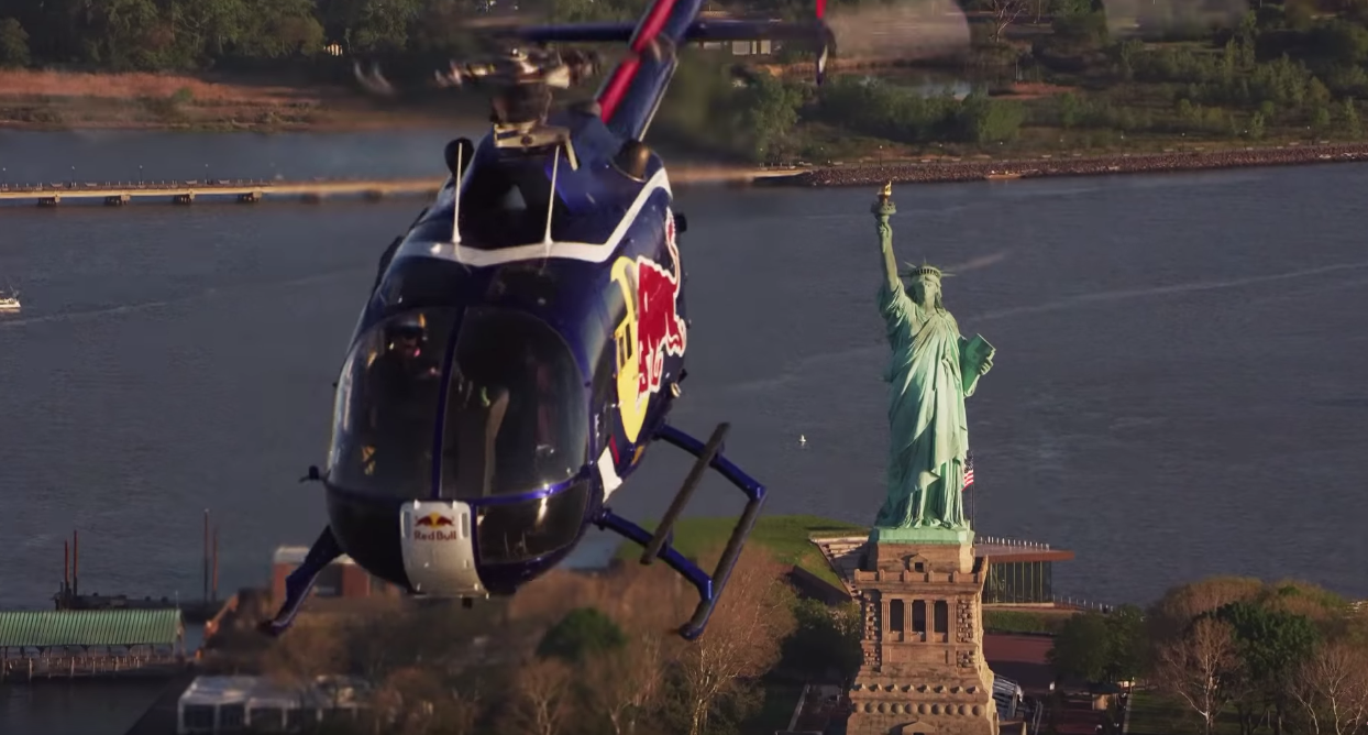 Red Bull Fly A Helicopter Upside-Down Over New York City
