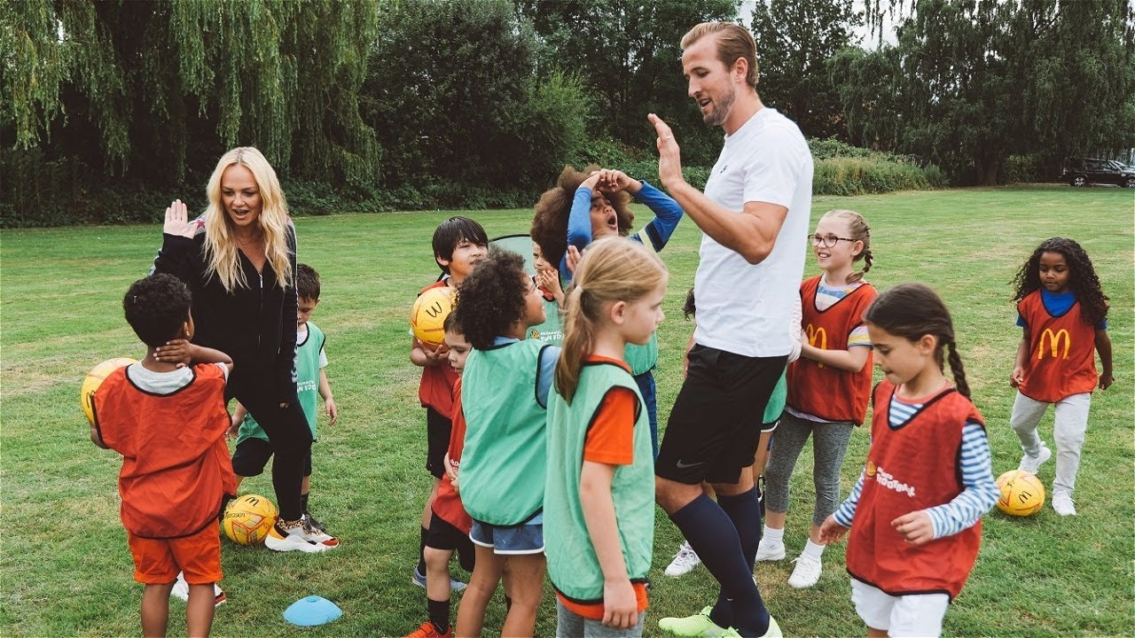 Harry Kane Plays A Game Of Football Against A Team Of Kids