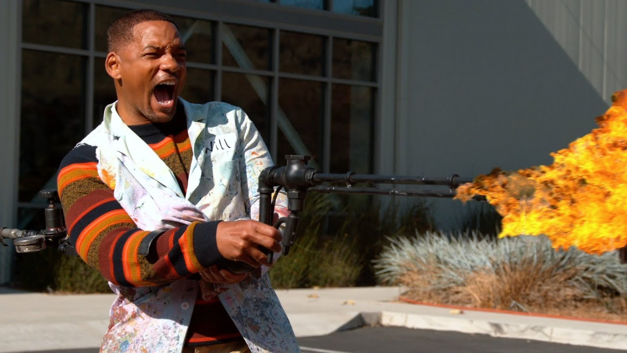 The Slo Mo Guys And Will Smith Play With A Flamethrower