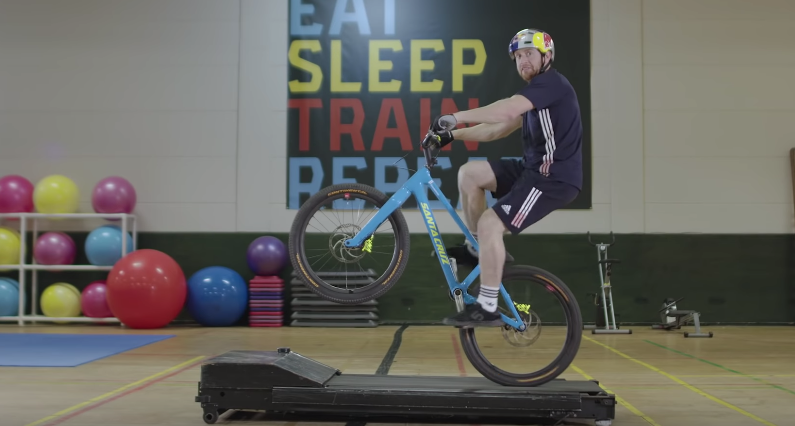 Biker Danny MacAskill Pulls Off Some Amazing Tricks At The Gym With Red Bull