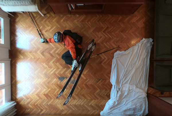 A Man Goes Skiing Inside His House In This Stop-Motion Film image of Phillip Klein